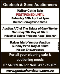 Goetsch & Sons Auctioneers Kalbar Cattle Sale POSTPONED UNTIL Saturday 30th April at 1pm Kalb...