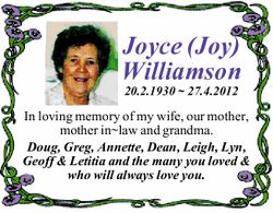 Joyce (Joy) Williamson 20.2.1930 ~ 27.4.2012 In loving memory of my wife, our mother, mother in~l...