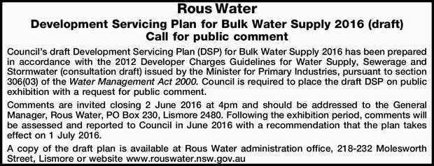 Call for public comment Council's draft Development Servicing Plan (DSP) for Bulk Water Sup...