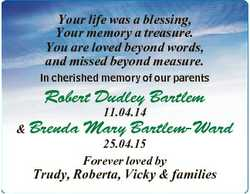 Your life was a blessing, Your memory a treasure. You are loved beyond words, and missed beyond meas...