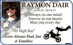 """RAYMON DAIR 6.06.91-24.04.15 Always on our mind Forever in our hearts Miss you every day """"Fly H..."""