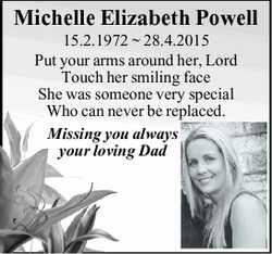 15.2.1972 ~ 28.4.2015 Put your arms around her, Lord Touch her smiling face She was someone...