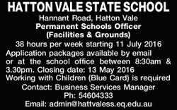 HATTON VALE STATE SCHOOL Hannant Road, Hatton Vale Permanent Schools Officer (Facilities & Gr...
