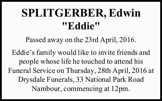 Passed away on the 23rd April, 2016.