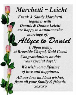 Frank & Sandy Marchetti together with Dennis & Donna Leicht are happy to announce the mar...