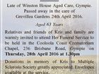"""DUTHIE, Kristine Anne """"Kris"""" Late of Winston House Aged Care, Gympie. Passed away in the care of Grevillea Gardens 24th April 2016. Aged 63 Years Relatives and friends of Kris and family are warmly invited to attend Her Funeral Service to be held in the Cooloola Coast Crematorium Chapel, 236 ..."""
