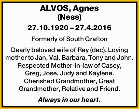 ALVOS, Agnes (Ness)