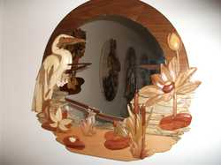 Intarsia mirror made from exotic wood