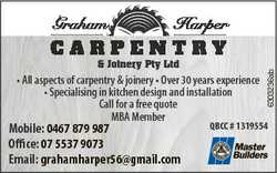 Harper & Joinery Pty Ltd * All aspects of carpentry & joinery * Over 30 years experience * S...