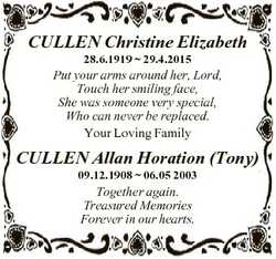 CULLEN Christine Elizabeth 28.6.1919  29.4.2015 Put your arms around her, Lord, Touch her smiling fa...