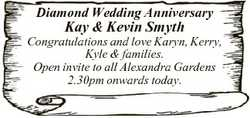Diamond Wedding Anniversary Kay & Kevin Smyth Congratulations and love Karyn, Kerry, Kyle &...