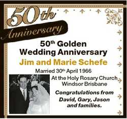 50th Golden Wedding Anniversary Jim and Marie Schefe Married 30th April 1966 At the Holy Rosary Chur...