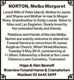 NORTON, Melba Margaret Loved Wife of Peter (decd). Mother to Jamie and Wayne and Mother-in-law to Me...