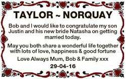 TAYLOR  NORQUAY Bob and I would like to congratulate my son Justin and his new bride Natasha on gett...