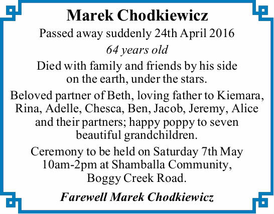 Marek Chodkiewicz Passed away suddenly 24th April 2016 64 years old Died with family and friends...