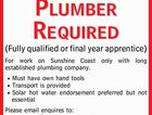 Plumber Required