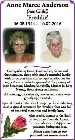 Anne Maree Anderson (nee Child) 'Freddie' 06.08.1944  10.02.2016 * 6326243aa Garry, Selena,...