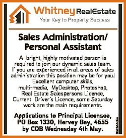 Sales Administration/ Personal Assistant Applications to Principal Licensee, PO Box 1330, Hervey Bay...