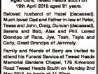 TOWNEND, Barry Hamilton Passed away peacefully at Raffles Aged Care, Tweed Heads South on 19th April 2016 aged 91 years. Beloved husband of Hazel (deceased). Much loved Dad and Father in-law of Peter, Tessa and John, Craig, Duncan (deceased), Serena and Bob, Alex and Phil. Loved Grandpa of Rana, Jye ...