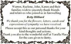 Warren, Raelene, John, Karen and their families wish to sincerely thank friends and relatives who jo...