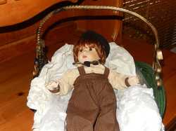 "Heirloom ""Danny"" doll 48cm long, gorgeous Franklin Mint, porcelain face & hands,stored in smoke free..."