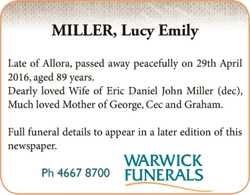 Late of Allora, passed away peacefully on 29th April 2016, aged 89 years. Dearly loved Wife of Er...