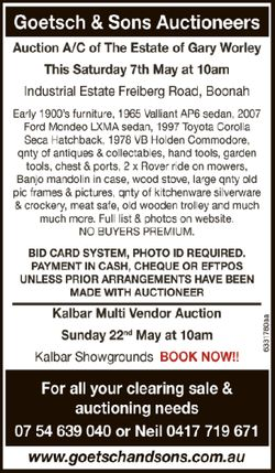 Goetsch & Sons Auctioneers Auction A/C of The Estate of Gary Worley This Saturday 7th May...
