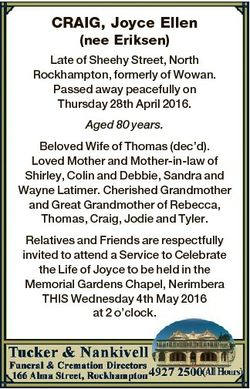 CRAIG, Joyce Ellen (nee Eriksen) Late of Sheehy Street, North Rockhampton, formerly of Wowan. Passed...
