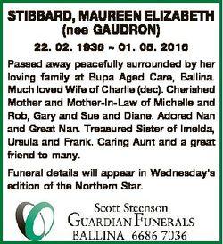 STIBBARD, MAUREEN ELIZABETH (nee GAUDRON) 22. 02. 1936  01. 05. 2016 Passed away peacefully surround...