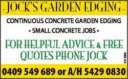 JOCK'S GARDEN EDGING  CONTINUOUS CONCRETE GARDEN EDGING * SMALL CONCRETE JOBS * 6191668ab FOR HE...