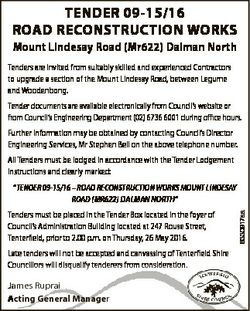 TENDER 09-15/16 ROAD RECONSTRUCTION WORKS Mount Lindesay Road (Mr622) Dalman North Tenders are invit...