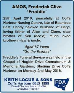 AMOS, Frederick Clive `Freddie' 25th April 2016, peacefully at Coffs Harbour Nursing Centre, lat...