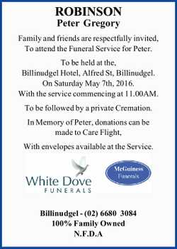 Family and friends are respectfully invited, To attend the Funeral Service for Peter. To be held...