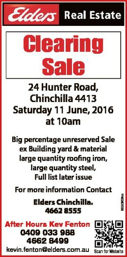 Clearing Sale 24 Hunter Road, Chinchilla 4413 Saturday 11 June, 2016 at 10am For more information Co...