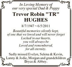 "In Loving Memory of our very special Dad & Poppy Trevor Robin ""TR"" HUGHES 8/7/1947  6..."