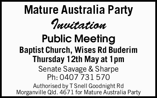 Invitation Public Meeting Baptist Church, Wises Rd Buderim