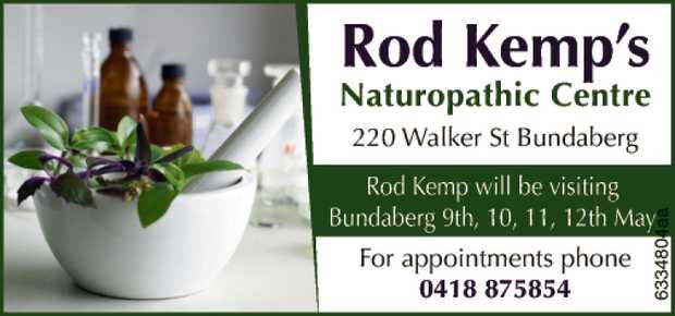 220 Walker St Bundaberg Rod Kemp will be visiting Bundaberg 9,10,11 May for appointments ph...
