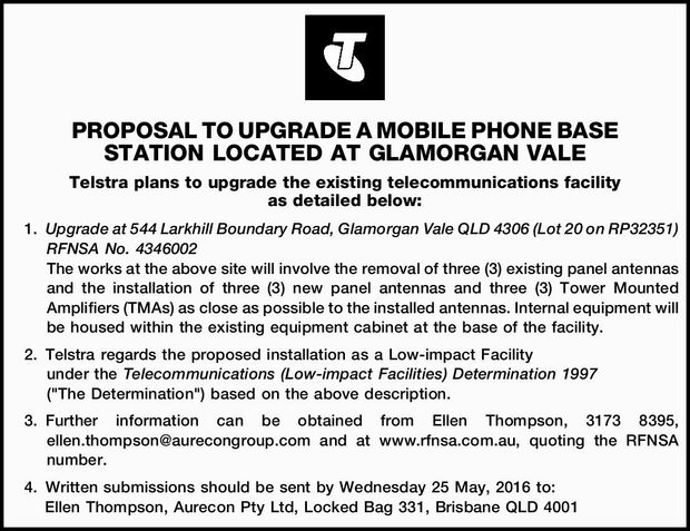 Telstra plans to upgrade the existing telecommunications facility as detailed below: 1.Upgrade at...