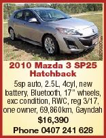 """6329920aa 2010 Mazda 3 SP25 Hatchback 5sp auto, 2.5L, 4cyl, new battery, Bluetooth, 17"""" wheels,..."""