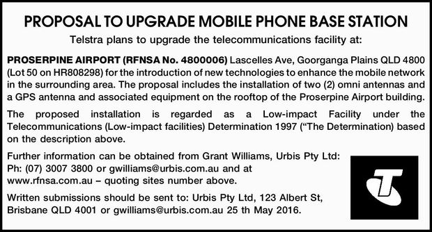 Telstra plans to upgrade the telecommunications facility at: PROSERPINE AIRPORT (RFNSA No....