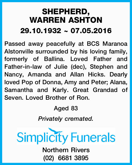 29.10.1932 ~ 07.05.2016