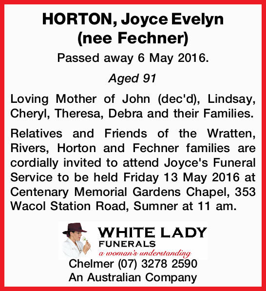 Passed away 6 May 2016. Aged 91 Loving Mother of John (dec'd), Lindsay, Cheryl, Theresa, Debr...