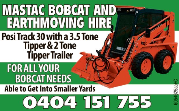 Bobcat and earthmoving hire.