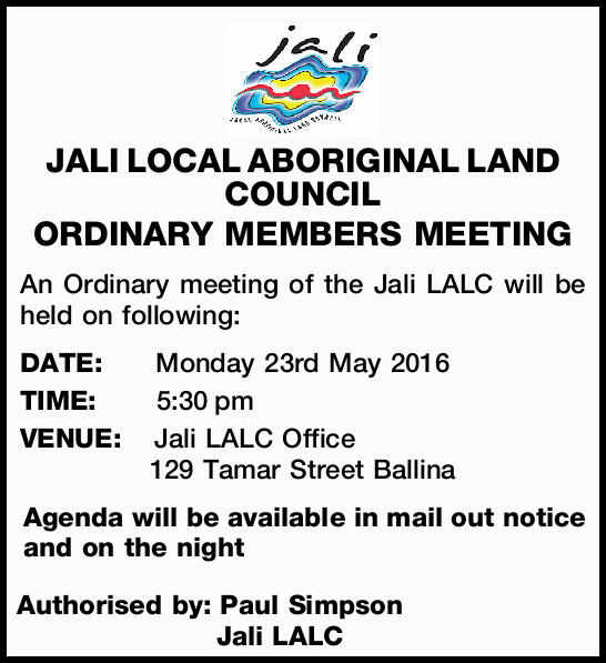 An Ordinary meeting of the Jali LALC will be held on following: