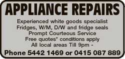 Experienced white goods specialist Fridges, W/M, D/W and fridge seals Prompt Courteous Serv...