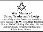 Wor. Master of United Tradesman's Lodge