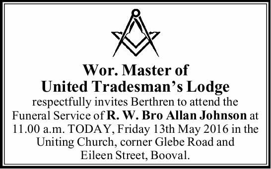 Wor. Master of United Tradesman's Lodge respectfully invites Berthren to attend the Funeral...