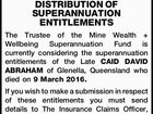 NOTICE OF INTENDED DISTRIBUTION OF SUPERANNUATION ENTITLEMENTS