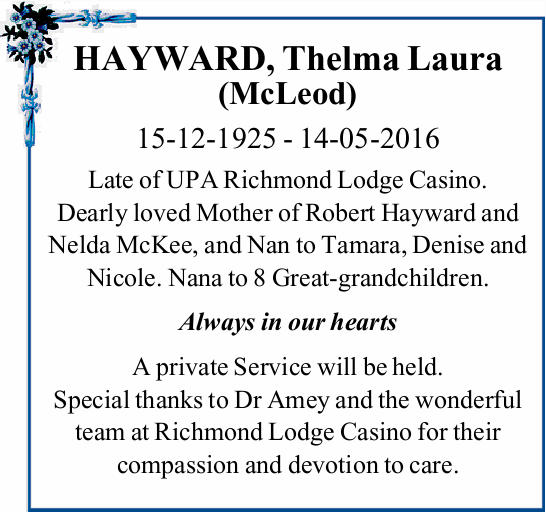 HAYWARD, Thelma Laura (McLeod)