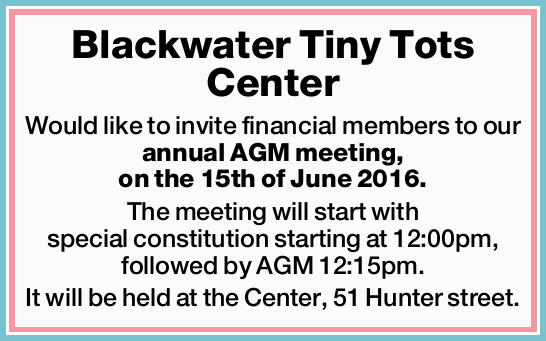 Would like to invite financial members to our annual AGM meeting, on the 15th of June 2016....